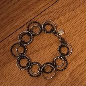 Monet gold/brown connected rings bracelet